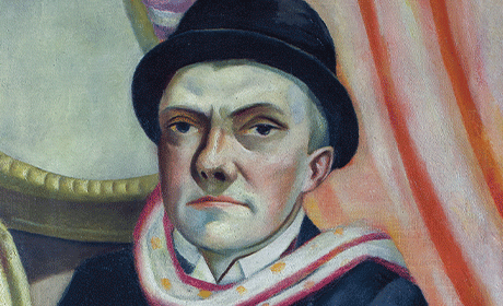 "Max Beckmann, ""Self-Portrait in front of Red Curtain,"" 1923"