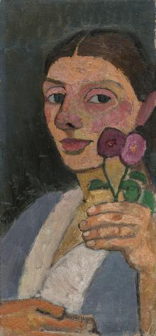 Self-Portrait with Two Flowers in Her Raised Left Hand